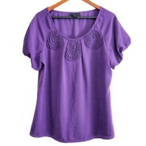 apostrophe Purple Beaded Spiral Rosette Top - nwot